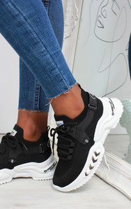 Azize Lace Up Trainers in Black