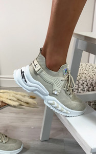 Azize Lace Up Trainers in Beige