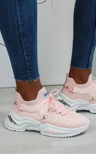 Azize Lace Up Trainers in Pink