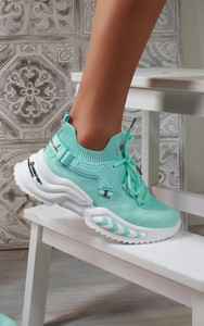 Azize Lace Up Trainers in Mint Green