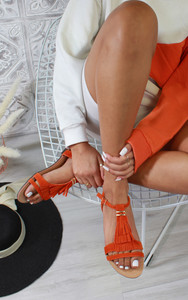 Abilene Fringe Flat Sandals in Orange
