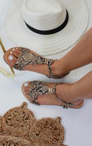 Abilene Fringe Flat Sandals in Snake