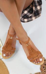 Abilene Fringe Flat Sandals in Camel