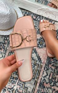 Gaia Croc Print Flat Slider Sandal in Pink