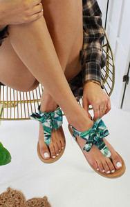 Saffron Bow Flat Sandal in Green