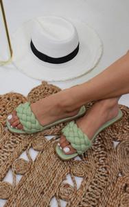Genette Woven Strap Sandals in Green