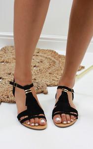 Abilene Fringe Flat Sandals in Black