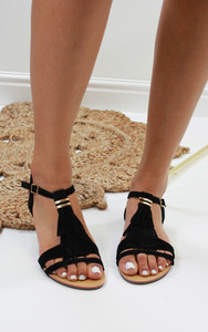 Abilene Fringe Flat Sandals in Black