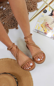 Ingrid Back Zip Flat Sandals in Camel