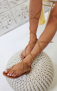 Dalia Strappy Ankle Tie Sandals in Camel