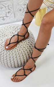 Dalia Strappy Ankle Tie Sandals in Black