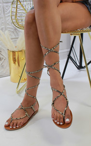 Dalia Strappy Ankle Tie Sandals in Snake