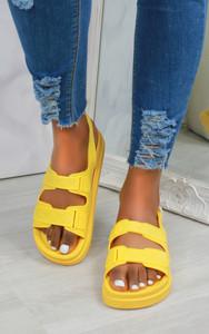 Keani Double Strap Flat Sandals in Yellow