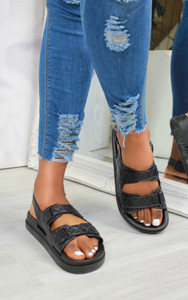 Keani Double Strap Flat Sandals in Black