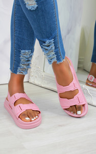 Keani Double Strap Flat Sandals in Pink