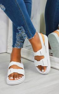 Keani Double Strap Flat Sandals in White
