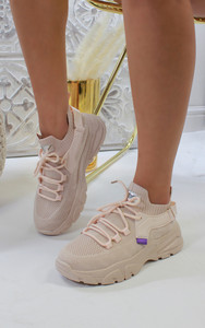 Jessica Knitted Trainer in Pale Pink
