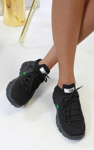 Jessica Knitted Trainer in Black