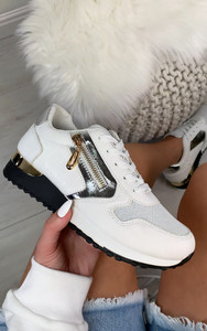 Milani Panelled Trainer in White