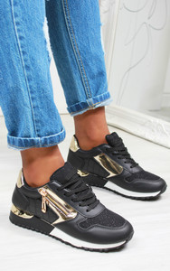 Milani Panelled Trainer in Black