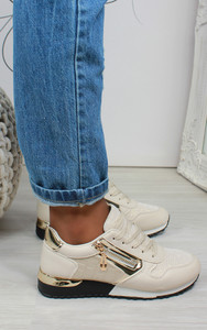 Milani Panelled Trainer in Beige