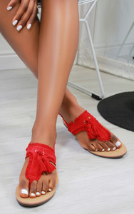Andreia Tassel Suedette Flat Sandals in Red