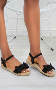 Chica Bow Suedette flat sandals in Black