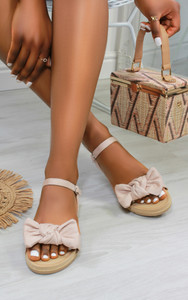 Chica Bow Suedette flat sandals in Beige