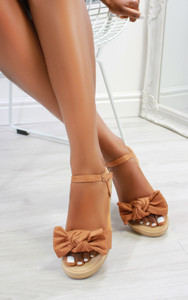 Chica Bow Suedette flat sandals in Camel