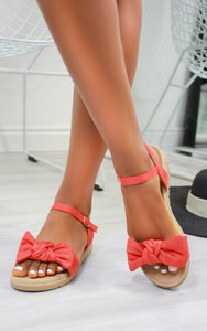 Chica Bow Suedette flat sandals in Coral