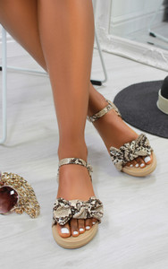 Chica Bow Suedette flat sandals in Snake