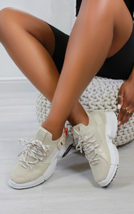 Edite Knitted trainers in Beige