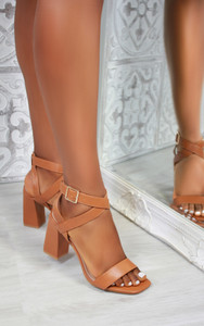 Rosana Cross Strap Heeled Sandals in Camel