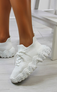 Catia knitted trainers in White