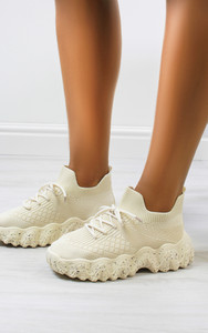 Catia knitted trainers in Nude