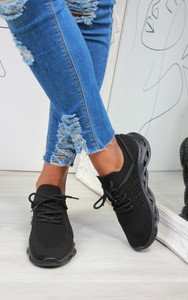 Lannie Double Lace Knitted Trainers in Black