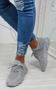 Lannie Double Lace Knitted Trainers in Grey