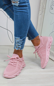 Lannie Double Lace Knitted Trainers in Pink
