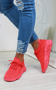 Lannie Double Lace Knitted Trainers in Red