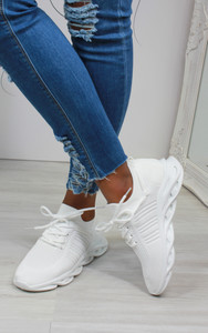 Lannie Double Lace Knitted Trainers in White