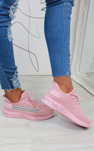 Malia Stripe Detail Knitted Trainers in Pink