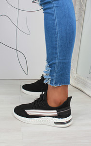 Malia Stripe Detail Knitted Trainers in Black