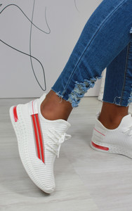 Malia Stripe Detail Knitted Trainers in White