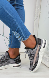Aleyna Stripe Detail Knitted Trainers in Black