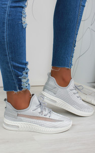 Aleyna Stripe Detail Knitted Trainers in Grey