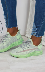 Aleyna Stripe Detail Knitted Trainers in Green