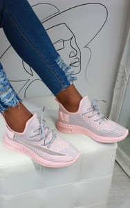 Aleyna Stripe Detail Knitted Trainers in Pink