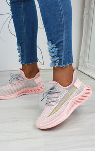 Lanny Stripe Detail Knitted Trainers in Pink