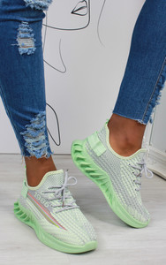 Lanny Stripe Detail Knitted Trainers in Green