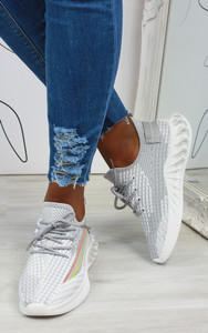 Lanny Stripe Detail Knitted Trainers in Grey